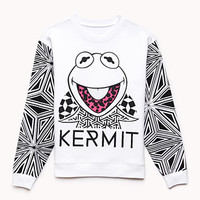 FOREVER 21 Kermit The Frog Sweatshirt Ivory/Black Small