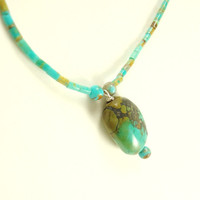 Jewelry Pendant Turquoise Stone Boulder Turquoise Heishi Sterling