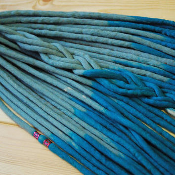 Wool double ended dreads white blue long dreadlocks free beads ready to shipping
