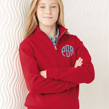 Childrens Monogrammed Quarter Zip Fleece Cadet Pullover, Kids Personalized fleece pullover, Child Custom Embroidered sweatshirt, Pullover