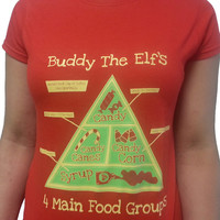 Buddy The Elf's 4 Main Food Groups TShirt Elf by MyPartyShirt