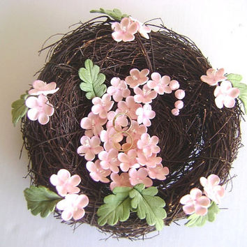 Handmade Clay Wedding Ring bearer. Blossoms and Nest Ring Pillow - Persian Paisley