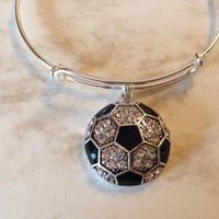 Crystal Soccer Ball Charm Bangle Silver Expandable Wire Bracelet Adjustable One Size Fits All Team Coach Gift