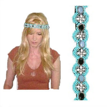 Beaded Boho Headband Turquoise Black & Silver Indian Seed Beads Stones Studs Tribal Hippie Head Band