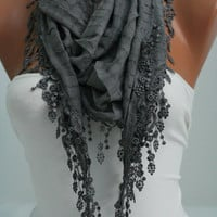 Dark Gray Shawl and Scarf  Headband - Cowl with Lace Edge -Summer Trends