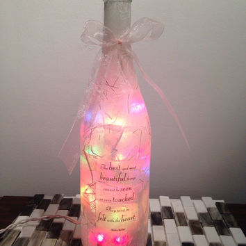 Quote by Helen Keller--wine bottle lamp