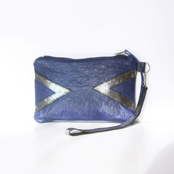 Blue Galaxy Leather Wristlet // Art Deco Purse // Geometric Navy Metallic // Purse Bag // New Year's Party Clutch