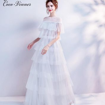 C.V O neck Floor Length Ruffles Beach Wedding Dress Illusion Zipper Back Plus Size Bohemian Wedding Dresses Bridal Gown W0332