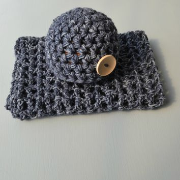Newborn Hat And Blanket Set Soft Denim Heather Baby Stretch Blanket