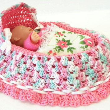 handmade crochet cradle purse, baby doll, drawstring, church purse, pink green white BG86