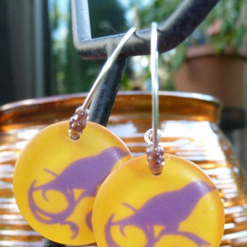 Purple Crow Earrings by thestringlady on Etsy