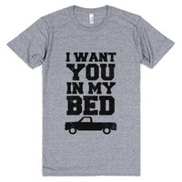 I Want You in My Bed (truck)-Unisex Athletic Grey T-Shirt