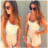 2016 Trending Fashion Women Round Necked Spagehetti Strap Shorts Top Women Tank Vest Trousers Pants _ 7984