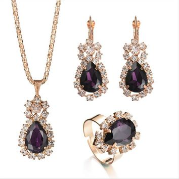 Elegant Teardrop Crystal Rhinestone Gold Plated Chain Necklace Set