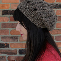 Knit Womens Hat - Slouchy Ribbed Hat in Barley Brown - Winter Fashion - Winter Accessories