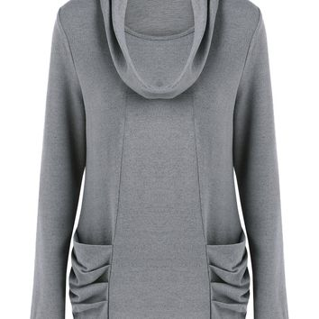 Cowl Neck Ruched Tunic Knitwear - Gray