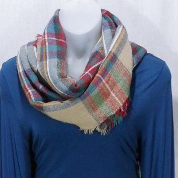 17283 Classic Chic Plaid Long Scarf