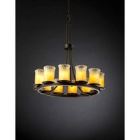 Justice Design Group GLA-8763-16-WHTW-DB Dakota Dark Bronze and Whitewash Twelve-Light Ring Chandelier - (In Whitewash)