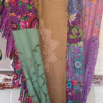Boho Curtains, Shabby Chic Curtains, Burlap Curtains, Patchwork Curtains, HippieWild, Bohemian Curtains, Crochet Curtains, Antique Linens