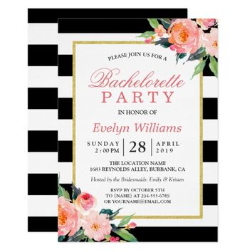 Floral Black White Stripes Gold Bachelorette Party Card
