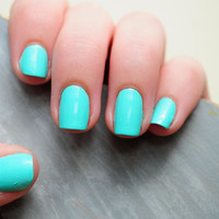 Teal Hand Painted Fake Nails
