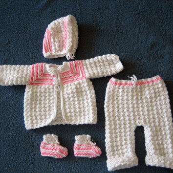 Newborn Crocheted Sweater Set by bb2213 on Etsy
