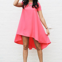 Short Sleeve Swing T-Shirt Dress with Dipped Back Hem in Coral