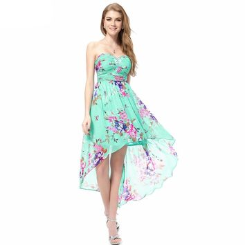 Floral Print Cocktail Dresses Ever Pretty Beach Style Blue Strapless Plus size Sexy Women Short Cocktail Dresse