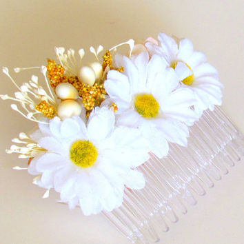 Daisy Wild Flower Hair Comb