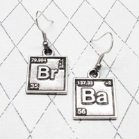 Br Ba Chemical Symbol Earrings, dangle, stud, inspired by Breaking Bad