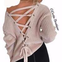 GGotta's Zoey Sexy backless knitted pullover Sweater