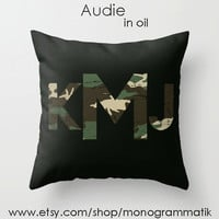 "Monogram Personalized Custom Pillow Cover 16"" x 16"" Couch Art Bedroom Room Decor Initials Name Letters Black Slate Red Grey Digital Camo"