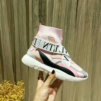 VALENTINO Women Fashion pink high top boots Casual Sneaker sport Shoes Best quality