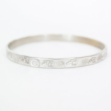 Vintage 50s Sterling Bracelet / 1950s Mexican Silver Etched Bangle Bracelet