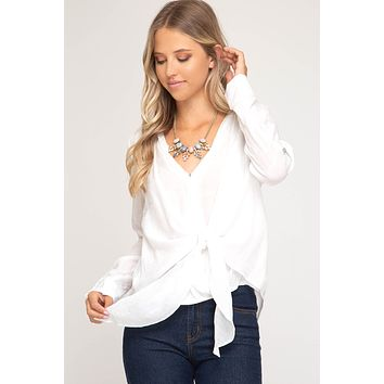 3/4 Roll-Up Sleeve Surplice Woven Top with Front Tie Detail - Off White