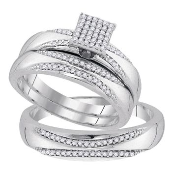 10kt White Gold His & Hers Round Diamond Square Cluster Matching Bridal Wedding Ring Band Set 1/4 Cttw
