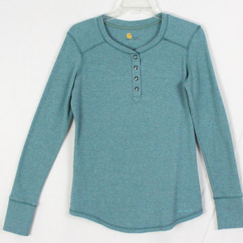 Carhartt Henley Top S 4 6 size Womens Teal Blue Snap Thermal Shirt Cotton Blend