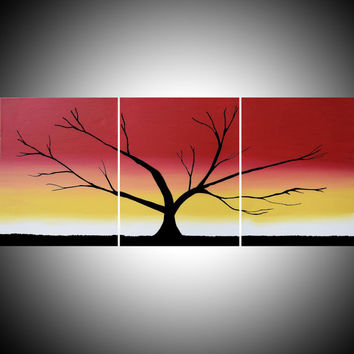 Original acrylic paintings on canvas abstract triptych landscape tree of life painting large wall art Modern 20 x 48 ""