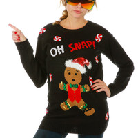 Sassy Z-Snappin Gingerbread Ugly Christmas Sweater