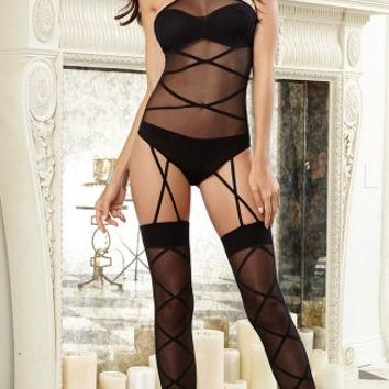 Strappy Halter Neck Teddy with Garters
