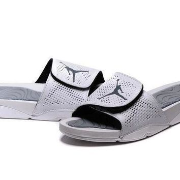 PEAPGE2 Beauty Ticks Nike Jordan Hydro V Retro White/silver Sandals Slipper Shoes Size Us 7-11