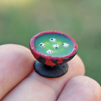 Halloween Dollhouse Miniature Bowl of Spooky Eyeball Soup Creepy Haunted House