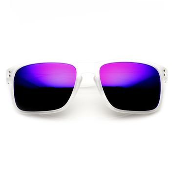 Men's Action Sports Frosted Aviator Flash Mirror Lens Sunglasses 9234