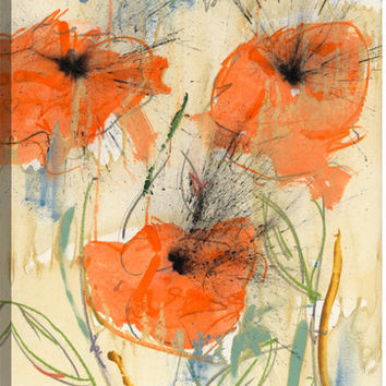 Orange Flowers Canvas Wall Art Print by Austin James