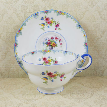 Vintage 1930s Paragon English Bone China Blue Floral Tea Cup and Saucer