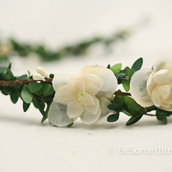 Woodland wedding wreath, green and ivory wedding hair accessory