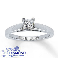 Diamond Solitaire Ring 1/2 ct Princess-Cut  14K White Gold