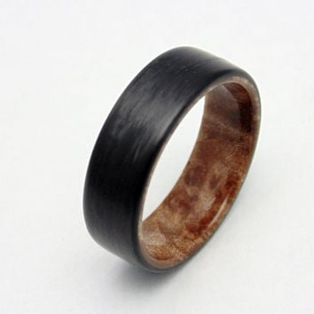 Carbon fiber and Maple Burl wedding band, Handmade carbon fiber ring