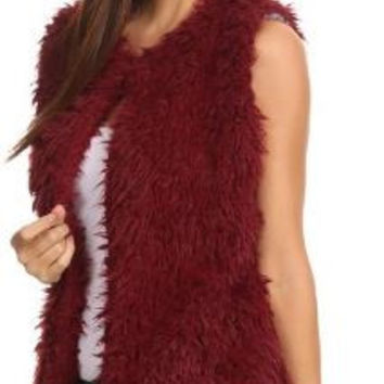 Solid Fur Vest with Front Closure