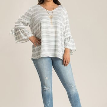 Plus Noelle Grey Stripe Top